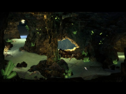 At the end of this underwater cavern there is a dragon you don't want to wake up.